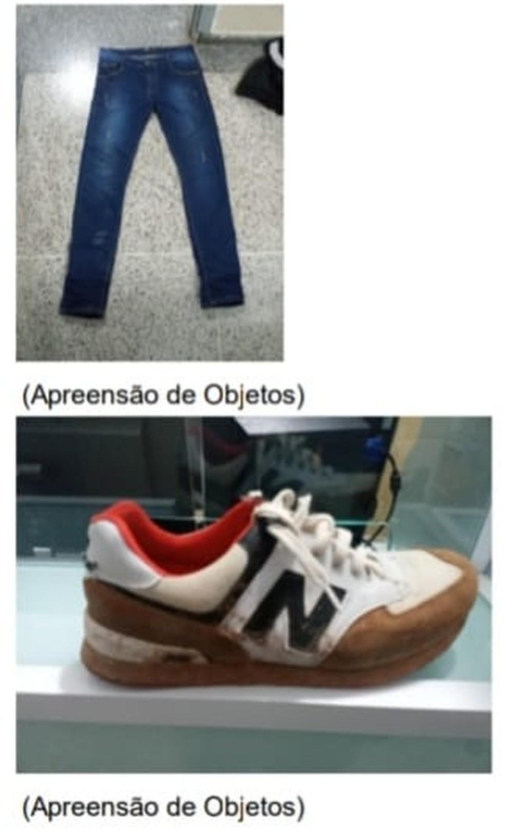 Roupas e sapatos usados pelos ladrões foram apreendidos — Foto: Polícia Militar