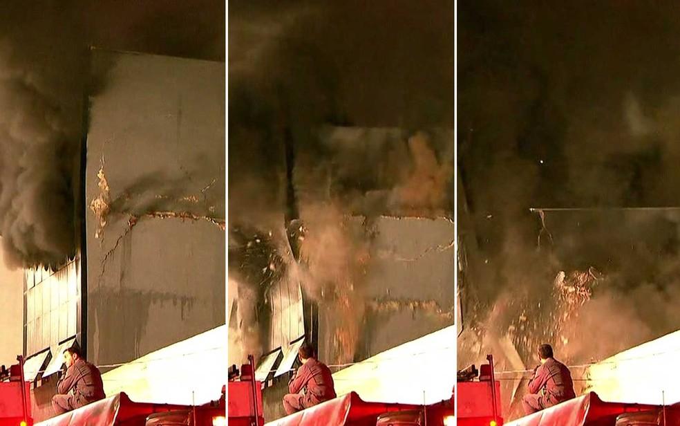 Sequência mostra quando parte de prédio no Centro de SP desaba após incêndio — Foto: Reprodução / TV Globo