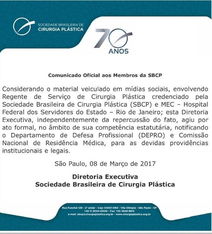 Nota oficial da Sociedade Brasileira de Cirurgia Plástica