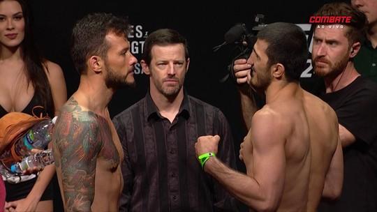 Alberto Miná e Ramazan Emeev passam pela pesagem do peso-meio-médio do UFC 224