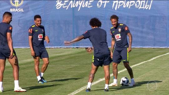 Jogadores da Seleção se preparam para seu primeiro jogo da Copa contra a Suíça