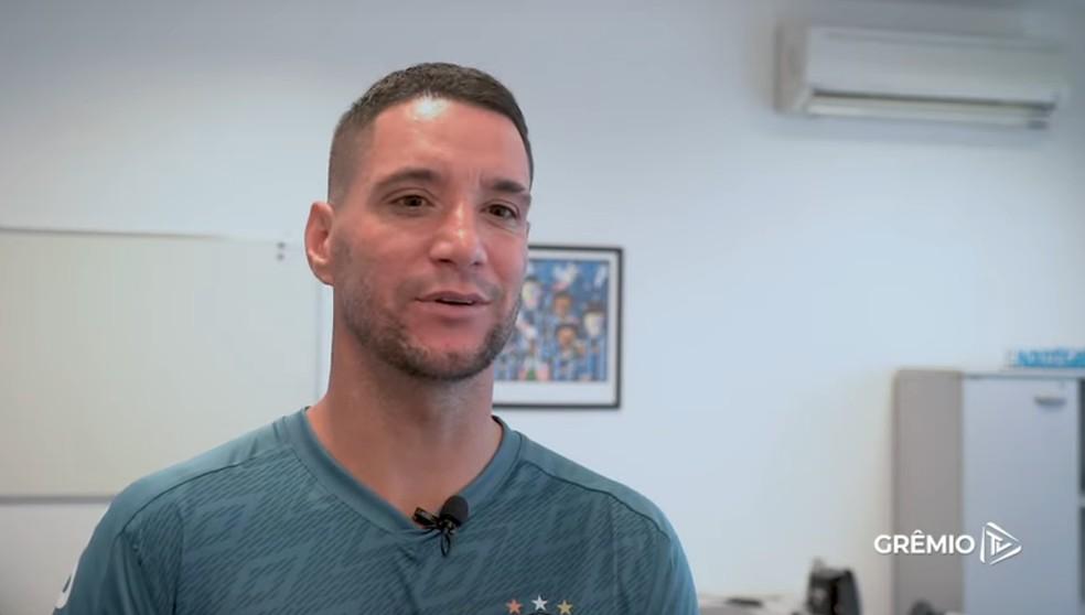 Thiago Neves em entrevista à Grêmio TV — Foto: Reprodução/GrêmioTV
