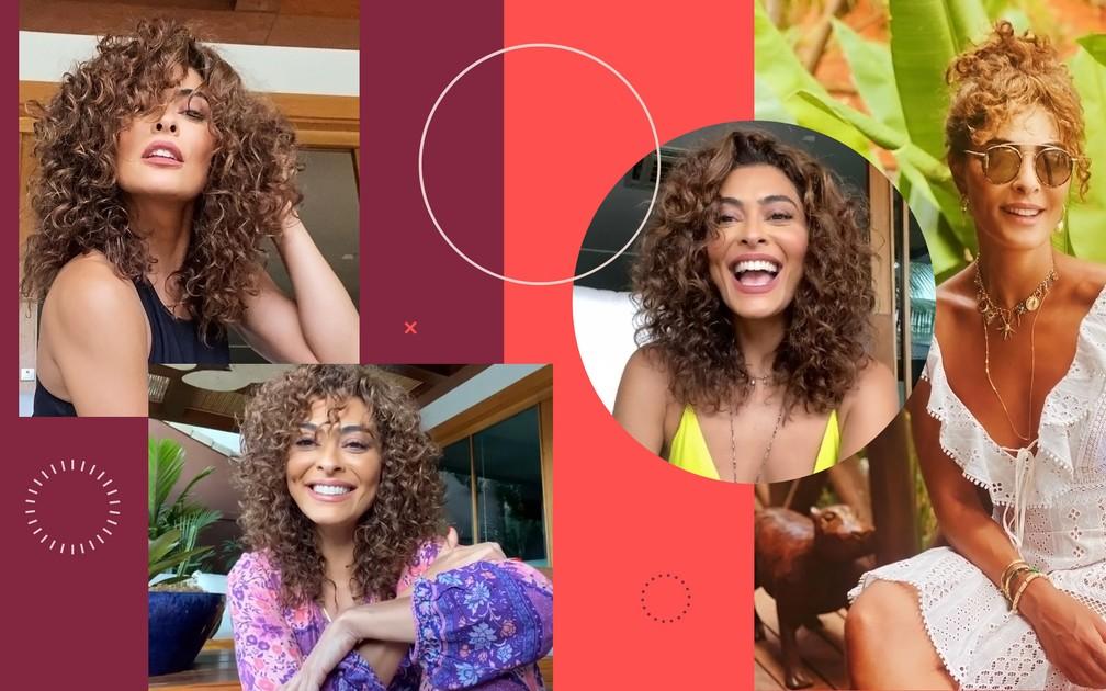 Juliana Paes mostra seus cabelos cacheados: atriz conta sobre processo de transição capilar e dá dicas de cuidados — Foto: Reprodução/Instagram | Arte: Fabrício Bianchi