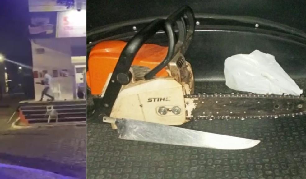 Polícia apreendeu a motosserra e um facão. Suspeito é procurado pela região. — Foto: Reprodução