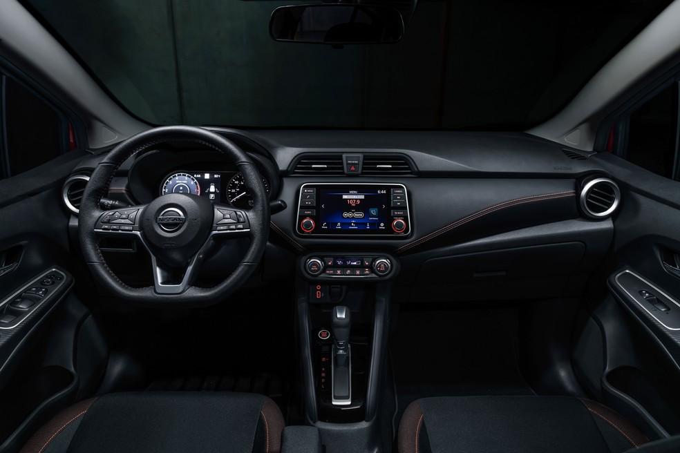 Interior do novo Versa é semelhante ao do Kicks — Foto: Divulgação/Nissan