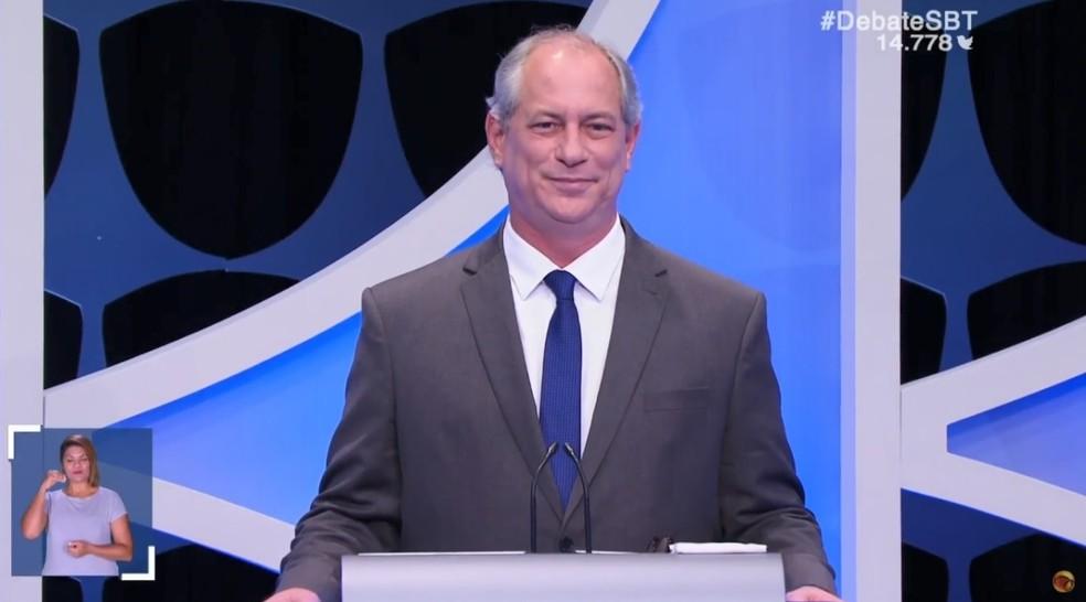 O candidato do PDT à Presidência, Ciro Gomes, no debate do SBT — Foto: Reprodução