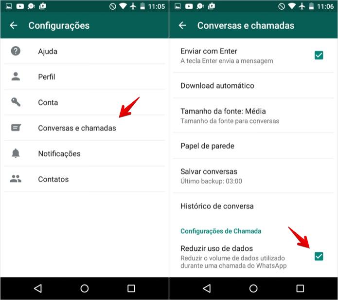 Ativando a economia de dados no WhatsApp para Android (Foto: Reprodução/Helito Bijora)