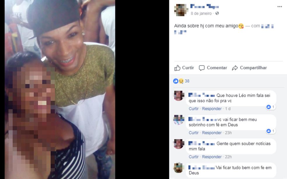 Na noite da festa, músico foi marcado em postagem nas redes sociais. Parentes e amigos de Leandro escreveram mensagens para desejar boa recuperação ao rapaz (Foto: Reprodução/ Redes Sociais)