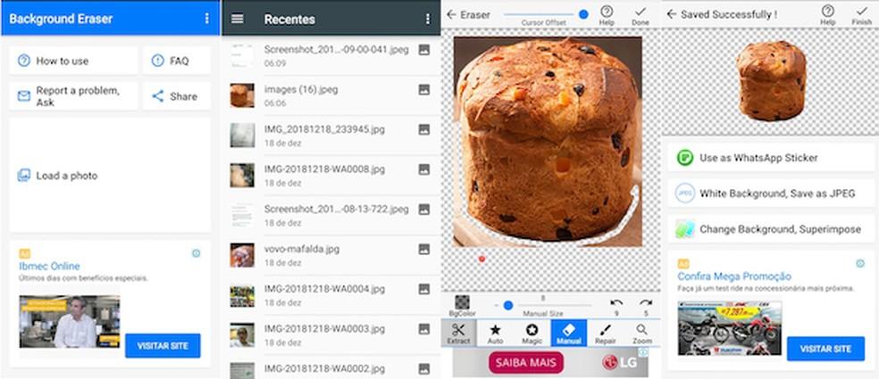 Aplicativo ajuda a apagar o fundo de fotos para usá-las como figurinhas no Whatsapp. — Foto: Reprodução/G1