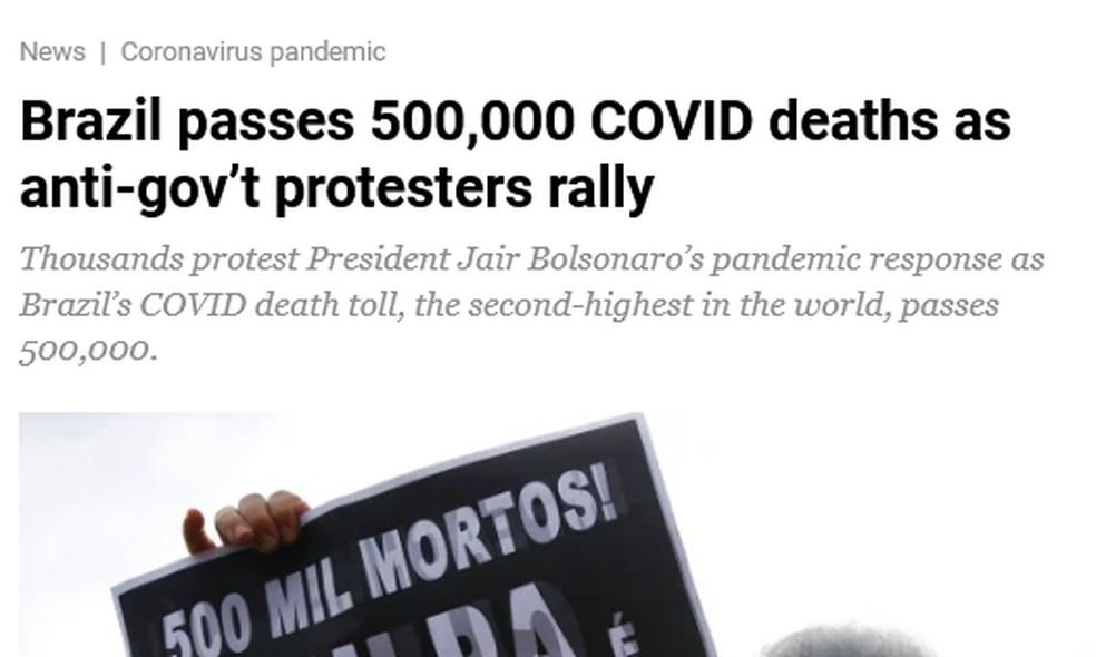 Reportagem da Al Jazeera apontou como há especialistas que dizem que o número de mortes por covid-19 no Brasil deve crescer ainda mais. — Foto: Reprodução.