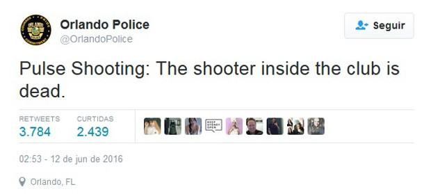 Tiroteio na Pulse: O atirador dentro da boate está morto, diz tuíte da polícia de Orlando (Foto: Twitter/Polícia de Orlando)