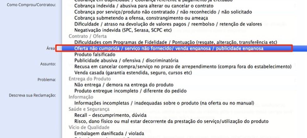 Ação para definir o tipo de problema encontrado em um anúncio de produto da Black Friday no site Consumidor.gov.br — Foto: Reprodução/Marvin Costa