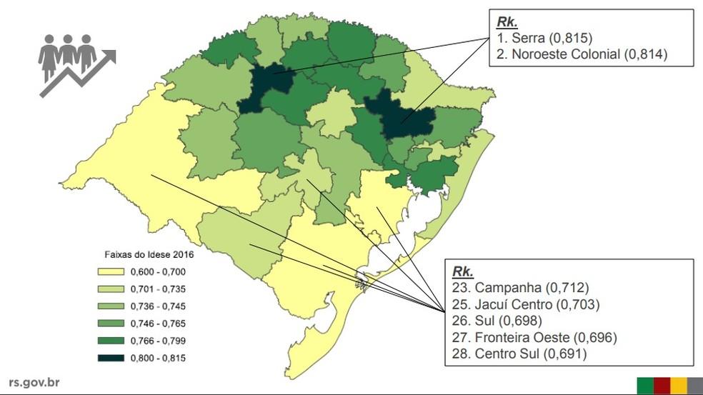 Mapa do Idese em 2016 por região — Foto: DEE/Seplag