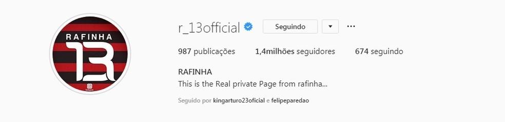 Instagram de Rafinha com sua marca R13 e as cores do Flamengo — Foto: Reprodução