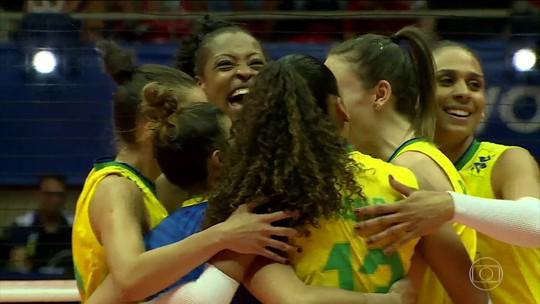 Brasil vence o Azerbaijão no pré-olímpico de vôlei feminino
