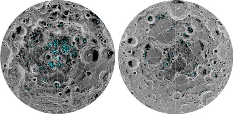 Imagem mostrando a concentração de gelo nos polos da lua (Foto: Divulgação/Nasa)