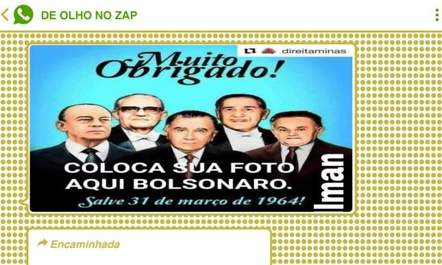 Montagem que circulou no WhatsApp sugere que Bolsonaro se junte aos ditadores que comandaram o Brasil durante o regime militar