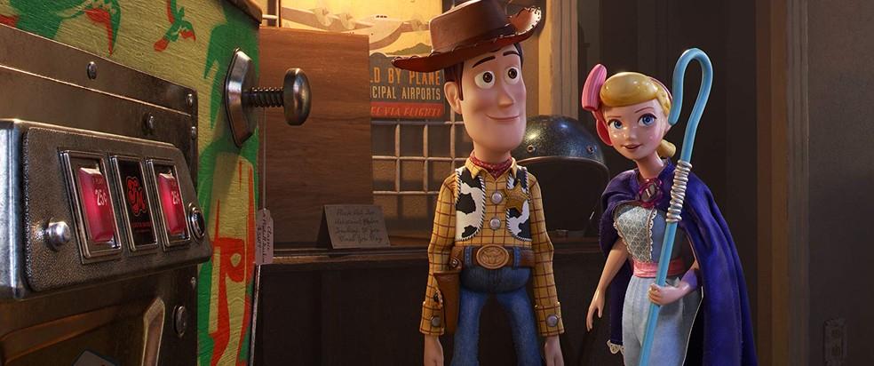 """Woody e Bo Peep são os protagonistas de """"Toy Story 4"""", que está passando no Cinépolis do Natal Shopping — Foto: Divulgação"""