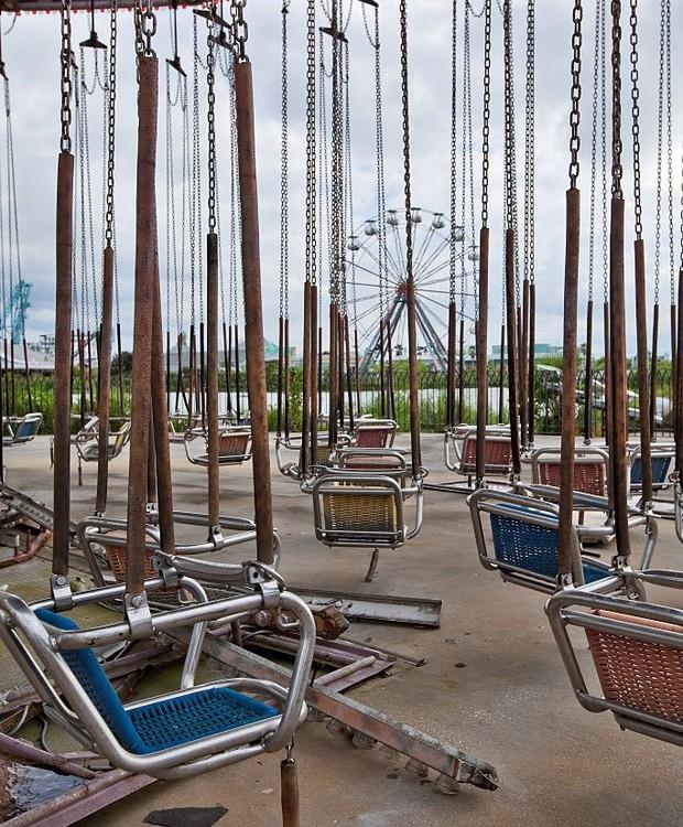 O furacão Katrina deixou o parque em escombros (Foto: Getty Images/ Reprodução)