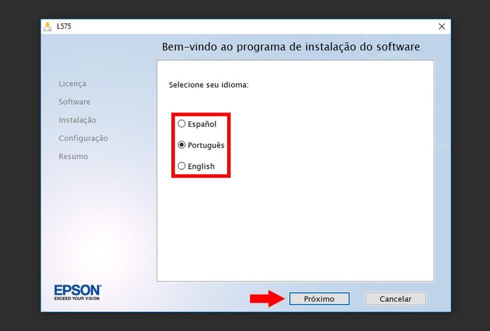 Selecione o idioma e prossiga com a instalação da Epson EcoTank L575 (Foto: Reprodução/Thiago Rocha)