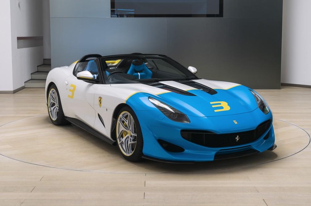 Ferrari SP3JC: modelo único para cliente endinheirado tem cores inspiradas na pop art — Foto: Divulgação/Ferrari