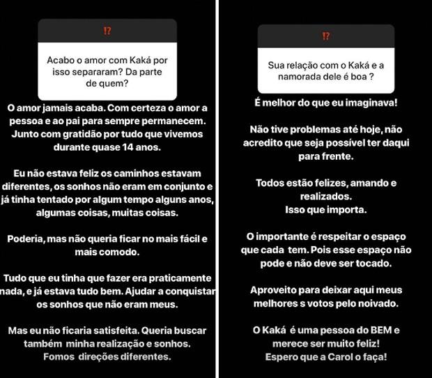 Respostas de Carol Celico (Foto: Reprodução/Instagram)