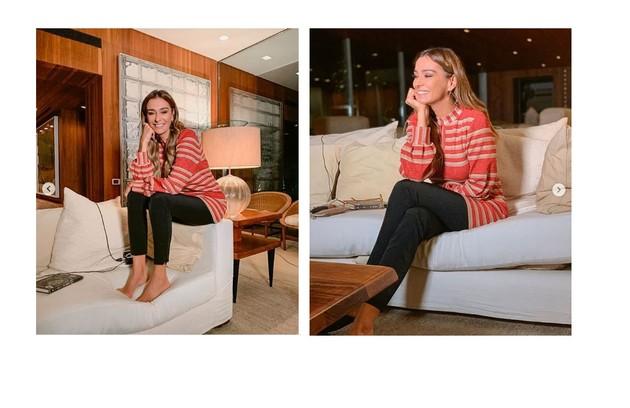 Mônica Martelli mostra bastidores do 'Saia justa' em casa. A atriz está morando num apartamento em São Paulo (Foto: Reprodução)
