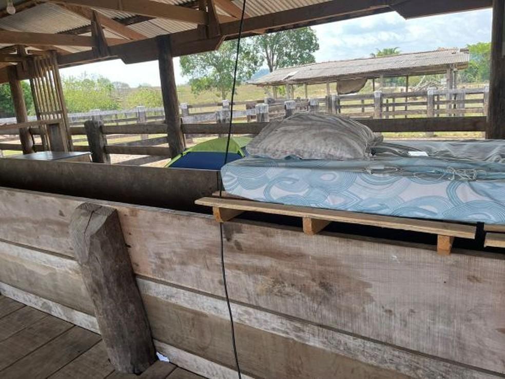 Trabalhadores dormiam em curral e usavam paletes como cama — Foto: Divulgação