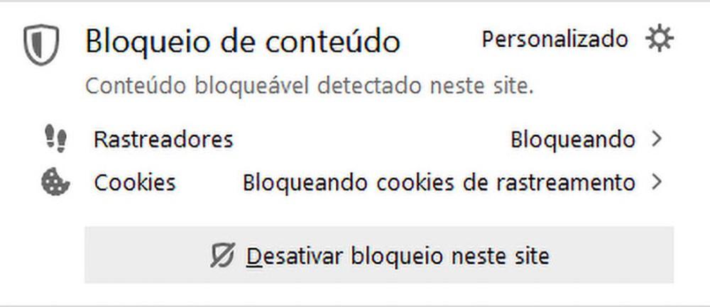 Escudo fica visível na barra de endereço quando algum conteúdo é bloqueado, e usuário pode conferir os detalhes do bloqueio — Foto: Reprodução