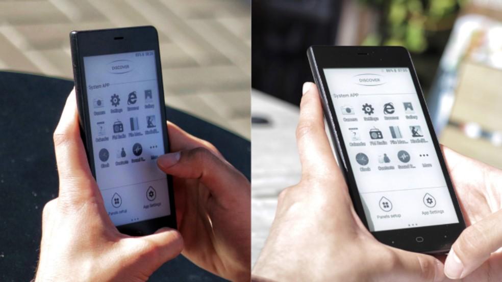 Kingrow K1 é um celular experimental com tela de Kindle — Foto: Reprodução/Indiegogo