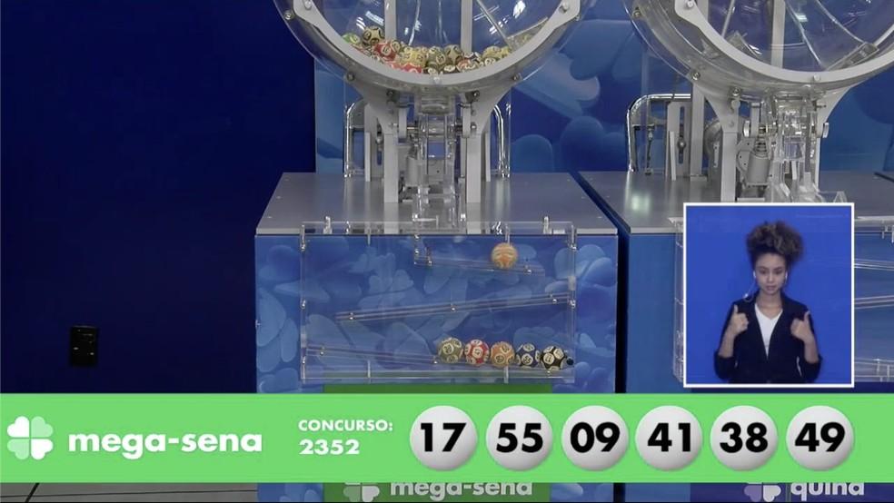 Concurso da Mega Sena 2.352 — Foto: Reprodução/Loterias Caixa
