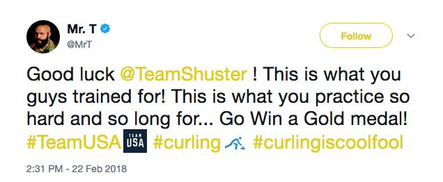 A mensagem de apoio enviada por Mr. T à equipe de curling dos EUA antes de final nas Olimpíadas de Inverno (Foto: Twitter)