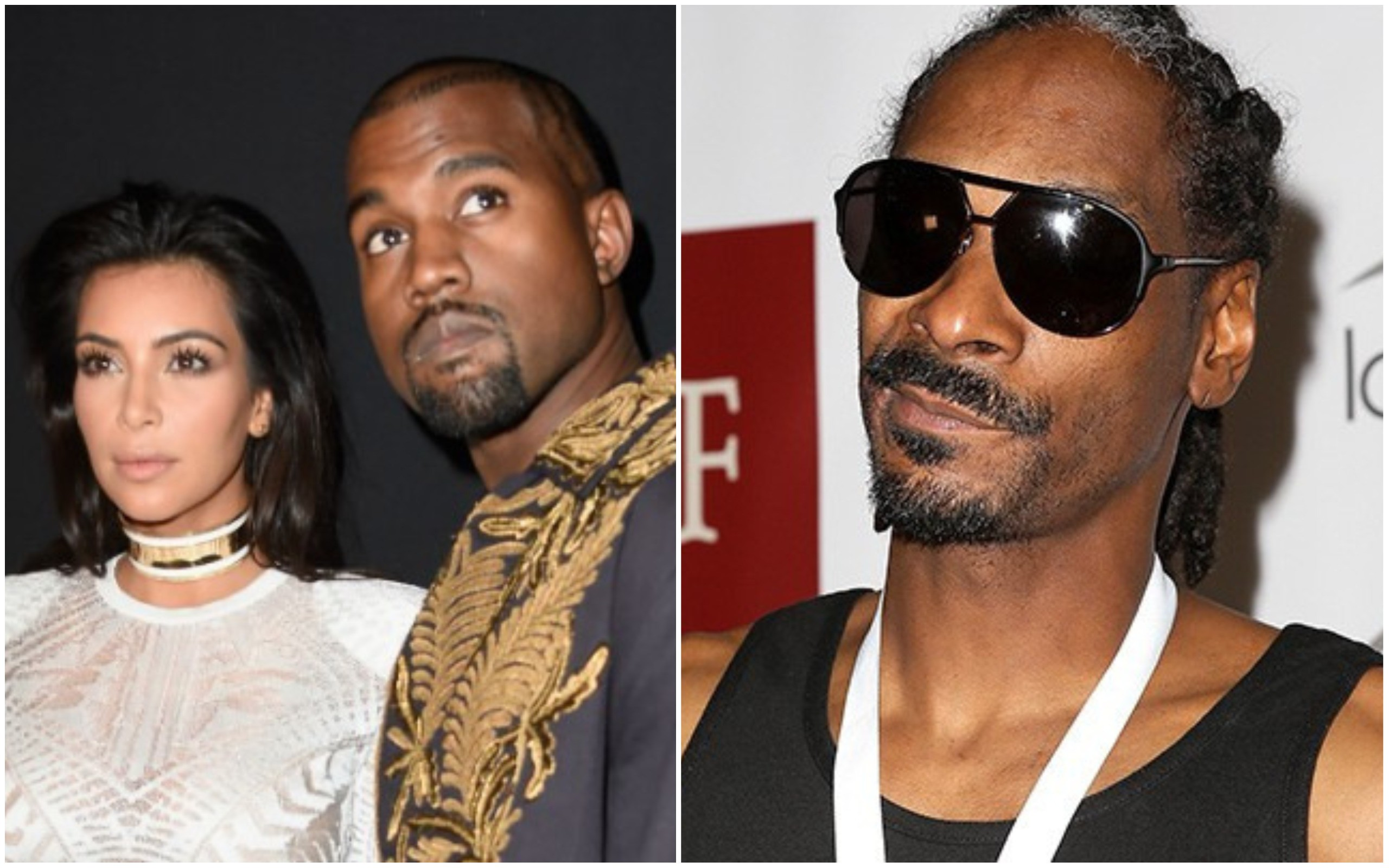 Kim Kardashian, Kanye West e Snoop Dogg (Foto: Getty Images)