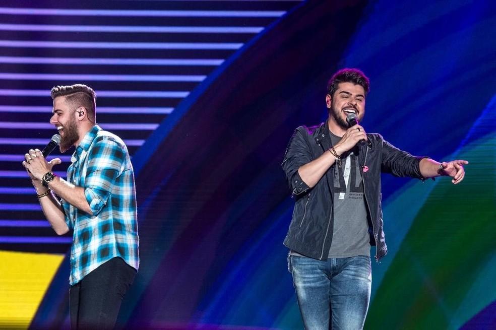 A dupla Zé Neto & Cristiano cantou para um público de 20 mil pessoas  — Foto: Globo/Fabio Rocha