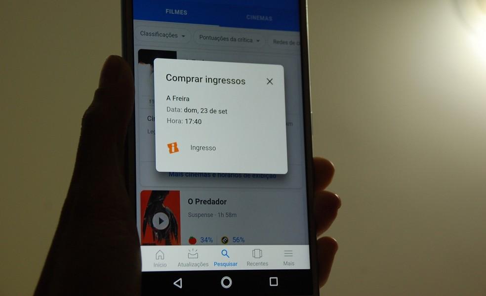 Google lança sistema de compra de ingresso de cinema no app de buscas — Foto: Raquel Freire/TechTudo
