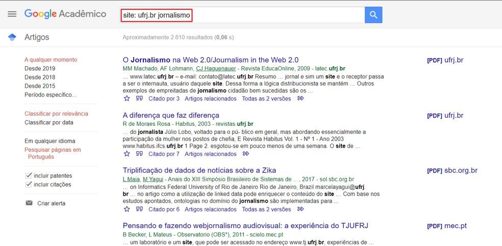 Filtre resultados por universidade no Google Acadêmico — Foto: Reprodução/Ana Letícia Loubak