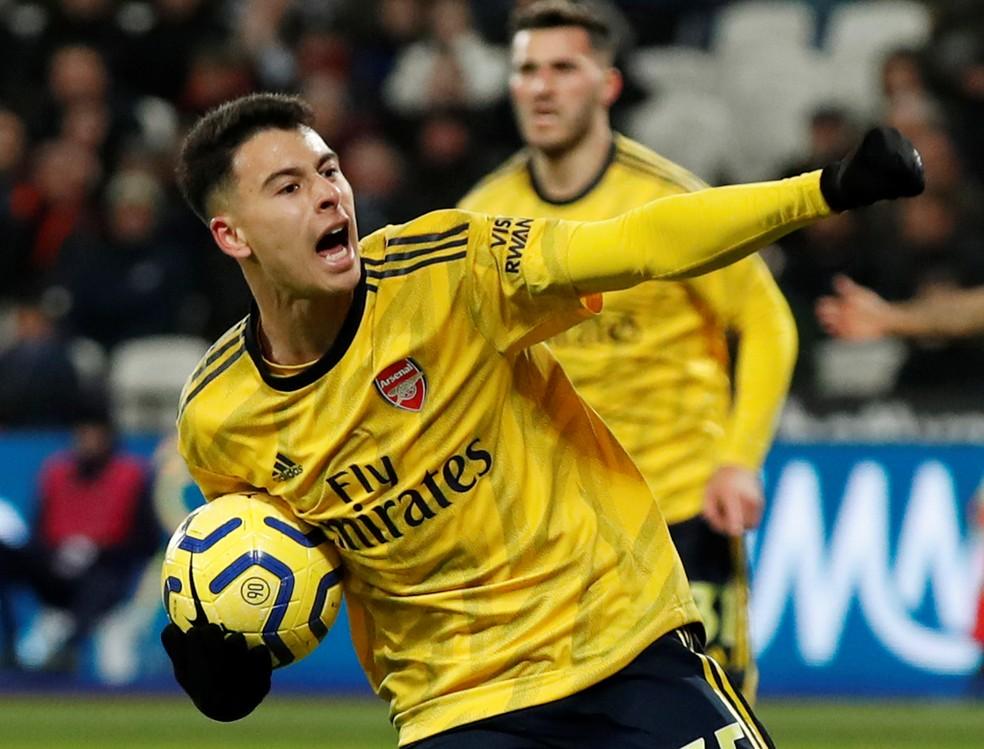 Gabriel Martinelli, do Arsenal, é o brasileiro da lista com mais gols na temporada: 10 — Foto: David Klein/Reuters