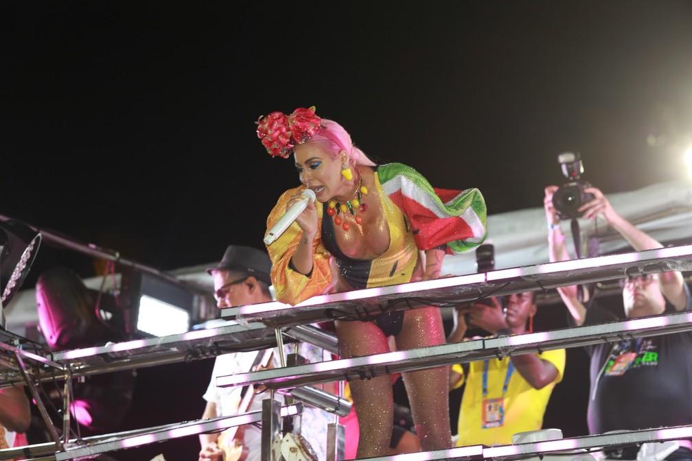Alinne Rosa no circuito Dodô (Barra/Ondina), em Salvador — Foto: Mauro Zaniboni /Ag Haack