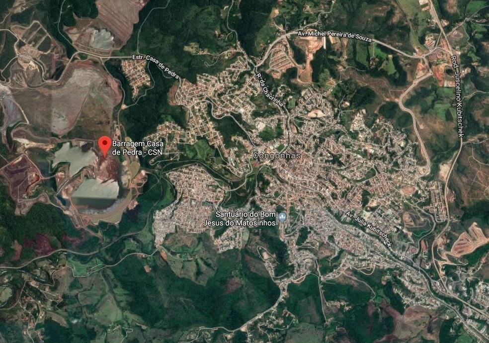 Localização da Barragem Casa de Pedra, da CSN Mineração, em Congonhas (MG) — Foto: Reprodução/Google Maps