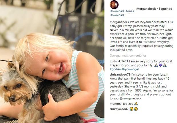 Morgan Miller lamenta morte da filha caçula, Emmy, de apenas 1 ano e 7 meses (Foto: Reprodução/Instagram)