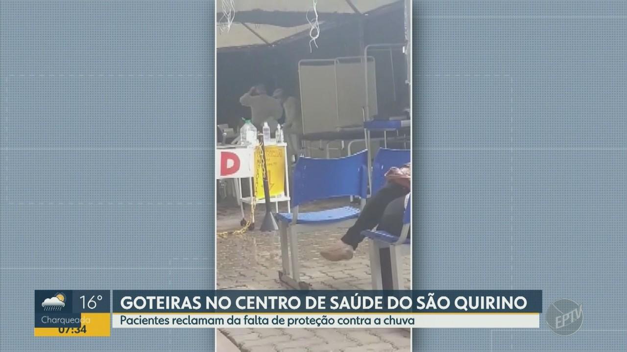 Pacientes reclamam de goteiras no Centro de Saúde São Bento Quirino, em Campinas