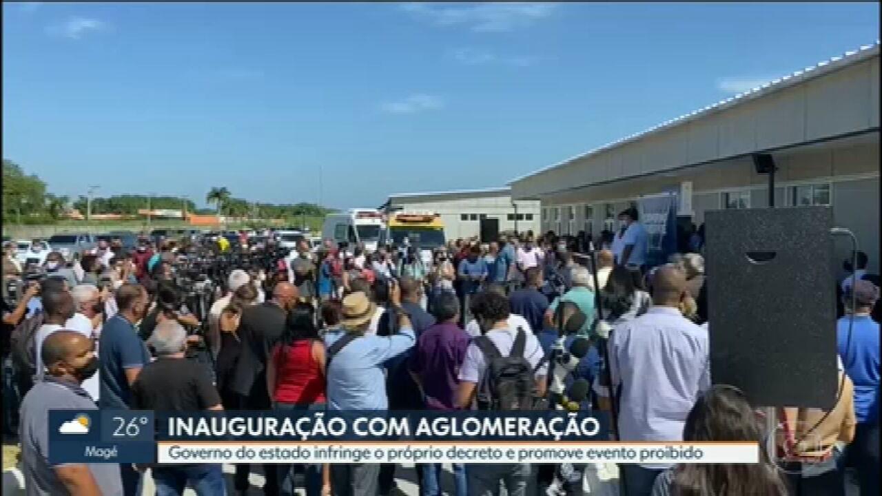 Inauguração de hospital modular de Nova Iguaçu é marcada por evento com aglomeração