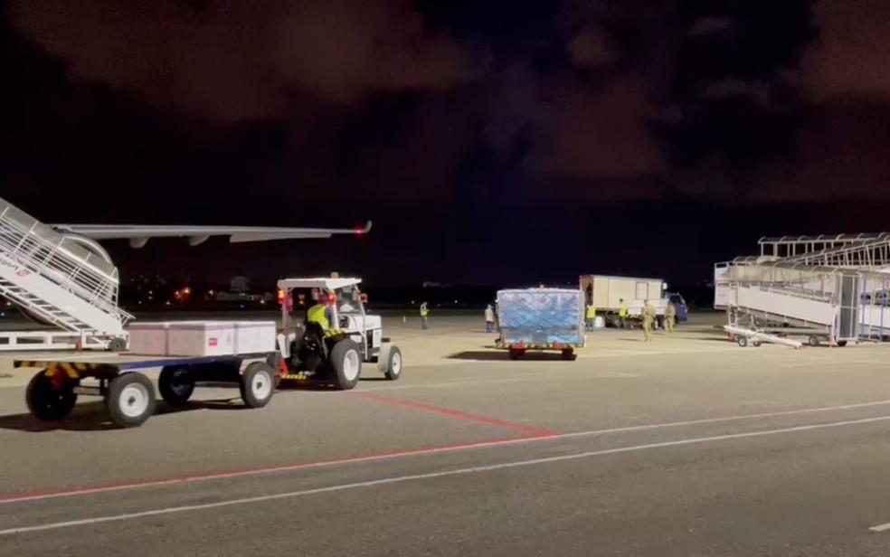 Avião com primeiras doses da vacina contra a Covid-19 chegou em Salvador, na noite desta segunda-feira (18) — Foto: Divulgação/Sesab