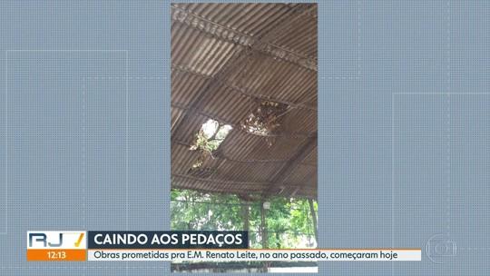Pais de alunos da Escola Municipal Renato Leite denunciam o péssimo estado das instalações