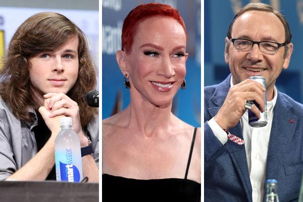Chandler Rigg, Kathy Griffin e Kevin Spacey começaram 2018 na fila do desemprego (Foto: Getty Images)