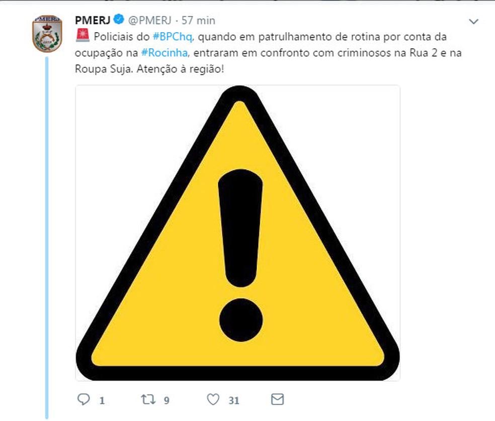 PM usou twitter para alertar sobre o confronto durante operação policial na Rocinha (Foto: Reprodução/Twitter)