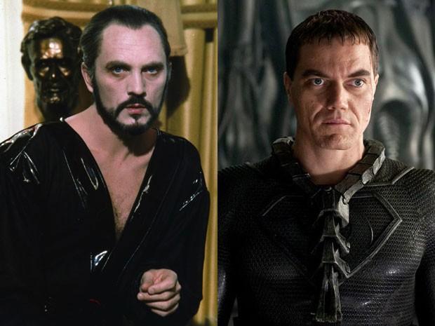 Terence Stamp em 'Superman' e Michael Shannon em 'O homem de aço' (Foto: Divulgação)