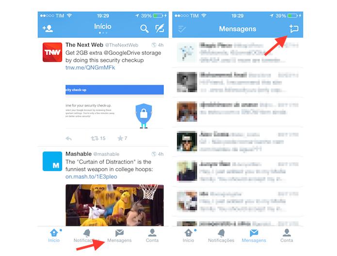 Acessando a ferramenta de criação de mensagem direta no Twitter para iOS (Foto: Reprodução/Marvin Costa)