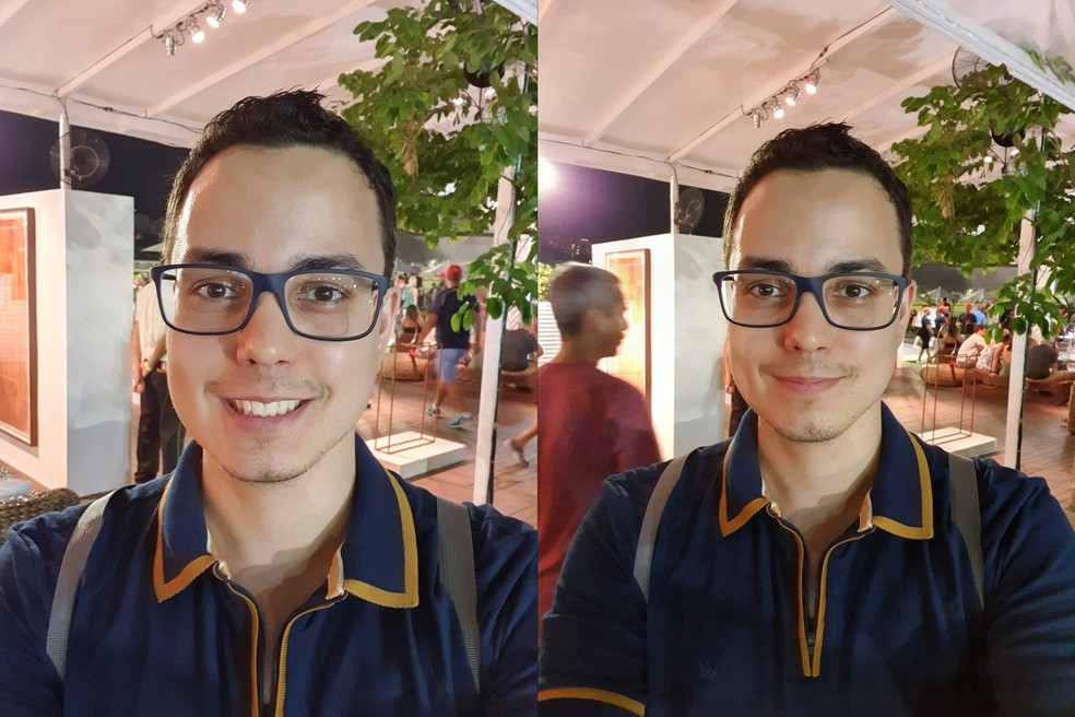 Galaxy S10 Plus: selfie em ambiente noturno com lente teleobjetiva e grande-angular — Foto: Thássius Veloso / TechTudo