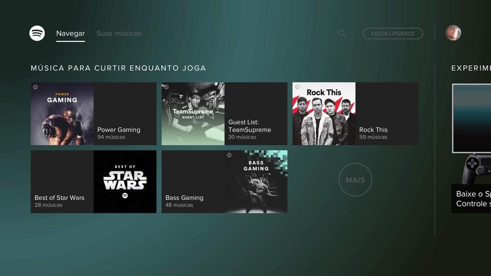 Spotify está com adições no PS4 (Foto: Reprodução/Felipe Vinha)